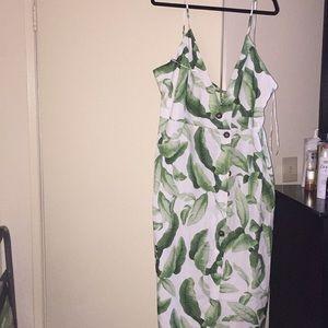 Fashion Nova Leaf Print Midi Dress